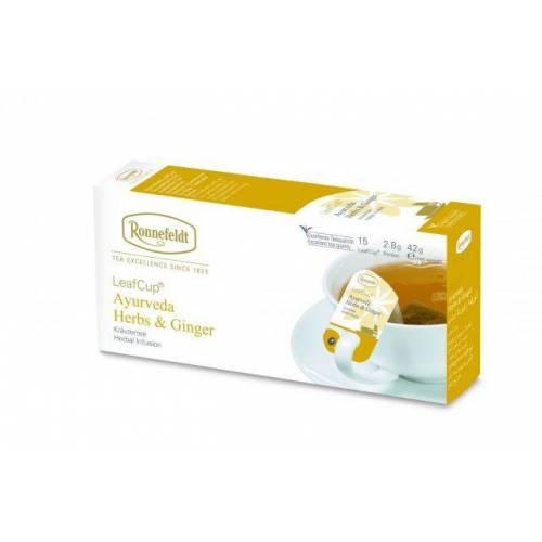 Žolelių arbata LeafCup® Ayuverda Herbs & Ginger 15 vnt.